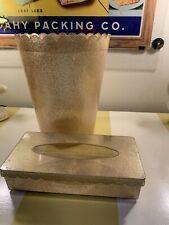 Gold Glitter ! Mid Century Modern Lucite Tissue Box Trashcan Set Acrylic VTG MCM