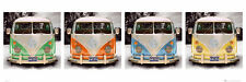 """VW CALIFORNIAN CAMPERS - DOOR POSTER (4 VW BUSES / METALLIC) (SIZE: 62"""" X 21"""")"""