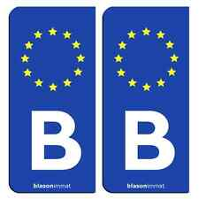 2 Autocollants plaque immatriculation auto : B Belgique - Identifiant Européen