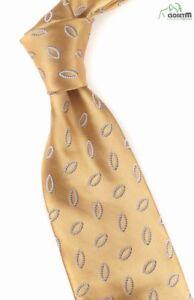 """Ermenegildo Zegna Gold w/ Gray Embroidered Design 3.5"""" Wide Silk Tie"""