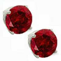 14K GOLD RUBY 2.86 CARAT ROUND SHAPE STUD PUSH BACK EARRINGS BUY 2 GET 1 FREE