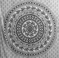 Elefanten Mandala - Indische Deko Baumwoll Tagesdecke  XXL 230 x 210 cm s/w