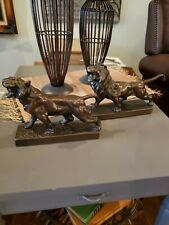 Pompeian Bronze Roaring Tiger And Lion Antique Bookends Statues