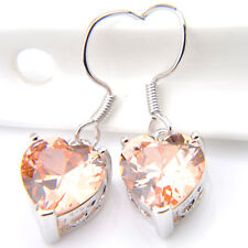 Love Heart Honey Natural Morganite Gemstone Solid Silver Dangle Hook Earrings