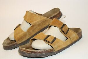 Birkenstock VINTAGE DISTRESSED Mens 11 44 Suede Slide Sandal Germany Made Shoes