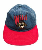 Vintage 1997 Warner Bros Denim Embroidered Taz Leather Adjustable Strap Hat Cap