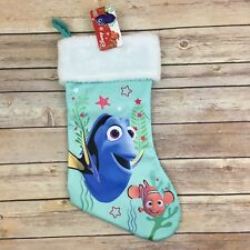 "Disney Finding Dory Nemo Christmas Stocking 16"" Pixar Blue Fish Holiday Deco New"