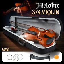 Melodic 3/4 Size Acoustic Violin Kit Natural Wooden for Beginner w/Bag 4-Strings