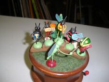 Hand Crank Music Box Plays When The Saints Go Marching In 1979 Enesco Wood Base