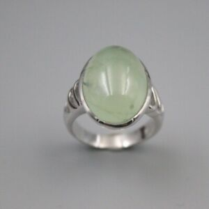 S925 Sterling Silver Ring Luck Prehnite Oval Shaped Ring 20mmW US7 For Woman