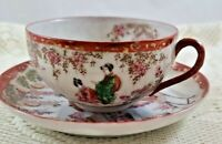 Geishaware Cup and Saucer.  Made in Japan.  Hand Painted