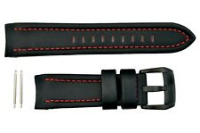 Luminox Space Series 5127 Black/Red Stitch Leather 24mm Watch Band Strap w/2Pins