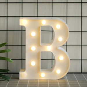 Large LED Alphabet Letters Light Up Warm White Lights Plastic Numbers Party Sign