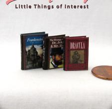 VICTORIAN CLASSICS (3) HORROR Miniature Books Dollhouse 1:12 Scale Illustrated