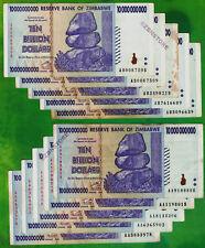 10 x 10 Billion Zimbabwe Dollars Banknotes AA AB 2008 Currency ~ Before Trillion