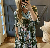 3X Plus Size Bohemian Floral Pocketed Knee Length Dress Womens NWT Made in USA