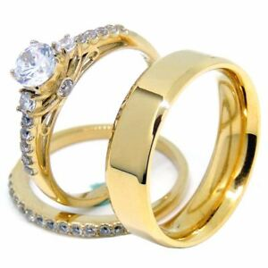 Couples Ring Set Womens Gold Plated 0.6 Carat Round CZ Ring Set Mens Gold Plated