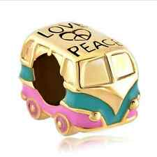 18K Gold plate Toy Car Love Paint Charm Bead For 925 Bracelet Necklace Chain DIY