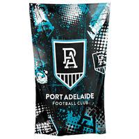AFL Wall Flag Cape - Port Adelaide Power - 150cm x 90cm - Steel Eyelet For Hang
