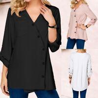 Women T-shirt Long Sleeve Blouse Button V Neck Shirt Ladies Casual Top Plus Size