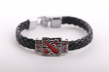 New Bracelet Dota 2 Logo Wristbands Alloy Leather Bracelet Great Gift Collection