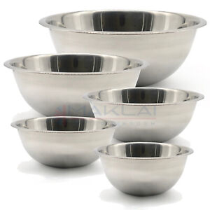 Stainless Steel DEEP MIXING BOWL Cooking Baking Flat Base Metal Different Sizes