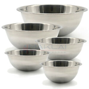 Stainless Steel DEEP MIXING BOWL Cooking Baking Flat Base Metal Different Sizes
