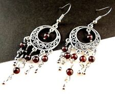 1 Natural Pair of Garnet Gemstone Bohemian Dangle Earrings - # 324