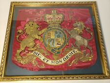 c1780 GEORGE III TRUMPET BANNER ROYAL EMBROIDERED COAT OF ARMS REVOLUTIONARY WAR