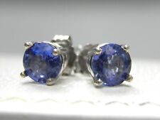 SOLID 14KT WHITEGOLD 1.10CTW GENUINE NATURAL CEYLON BLUE SAPPHIRE STUD EARRINGS