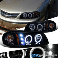 Glossy Black Chevy 00-05 Impala Replacement Tinted LED Halo Projector Headlights