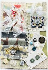 Junk Journal Scrapbook Fabric And Ephemera Kit 30 Plus Pieces, Fabric, Buttons