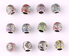 10pcs mix LAMPWORK CZ big hole spacer beads fit Charm European Bracelet B596