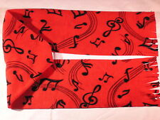 Musical Notes on Red Fleece Scarf