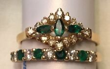 14k Yellow Gold Emerald Diamond Rings Can Be Wedding Set Band Engagement Ring