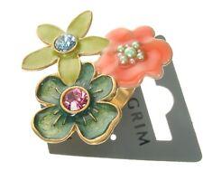 Pilgrim Ajustable Anillo Vintage Oro Esmalte Swarovski encantado Flor BNWT