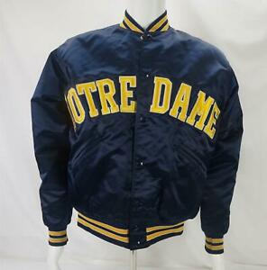 VTG Top of The Line Felco Notre Dame Satin Jacket Made in USA Blue Men's Medium