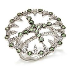 Rarities Carol Brodie 1.33ct Tsavorite and White Zircon Sterling Ring Size 8