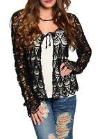 Black Scallop Open Crochet Tie Front Long Sleeve Cardigan/Sweater S/M M/L