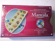 Mancala In Tin. Solid Wood Board With Gemstones Playing Pieces FREE SHIPPING