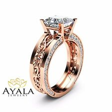 Unique Princess Cut Moissanite Ring 14K Rose Gold Engagement Ring