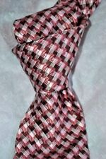 "$250 NWT TOM FORD Burgundy Pink basketweave check woven Mens 3.4"" Silk tie ITALY"