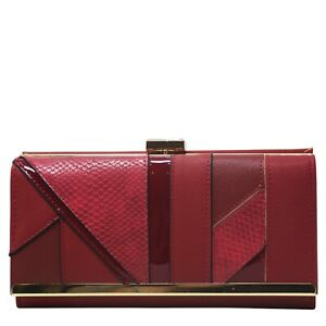 Ladies faux leather clutch purse - brown,pink,red,beige,grey