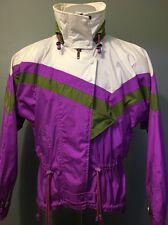 Vintage 80s 90s Serac Púrpura Blanco Hinchado Esquí Chaqueta Mujer 10 Nieve Feo