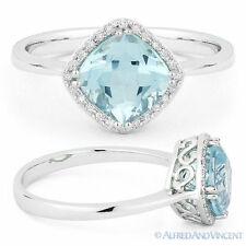 2.00ct Cushion Cut Blue Topaz &  Diamond Halo Engagement Ring in 14k White Gold
