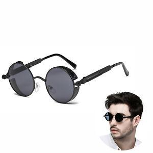Vintage Steampunk Sonnenbrille Side Shield Rundbrille Retro Hippie Runde Brillen