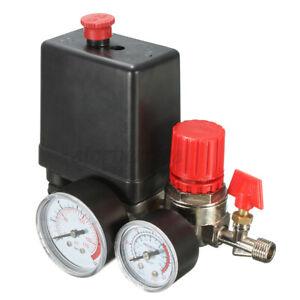 Air Compressor Pressure Switch Control Valve Manifold Regulator Gauges 240V UK