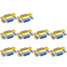 10pcs VGA Cable Coupler Extender Plug 15 Pin Female Port Adapter Terminal D-Sub