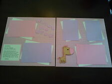 """Baby Girl Premade Scrapbook Layout w/ Poem 2 Page 12""""x12"""" Layout Watch Me Grow"""