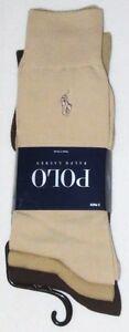 POLO Ralph Lauren 3 pack beige brown tan smooth fine dress socks men's